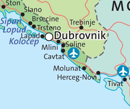 Map – Dubrovnik area map   - Croatian Villas Dubrovnik Map on