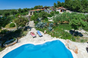 View of luxury villa with pool near Milna, on Brac island, Croatia