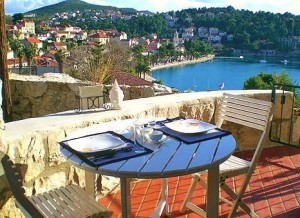 Sea view from the terrace of a villa in Cavtat, Croatia