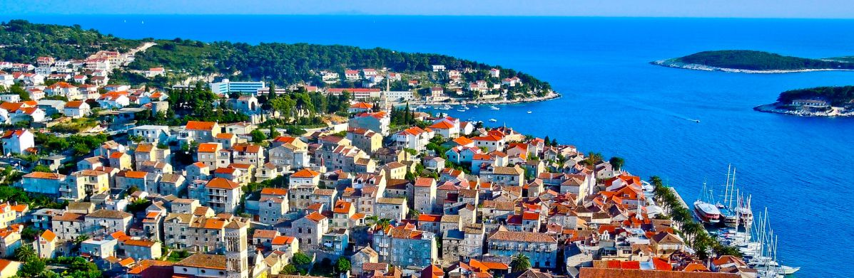 Overview of Hvar Town in Croatia