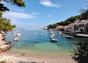 Scenic beach view in Korcula, Croatia