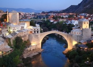 Night scenic view of Mostar City, Bosnia
