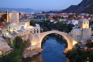Night view over Mostar City in Bosnia