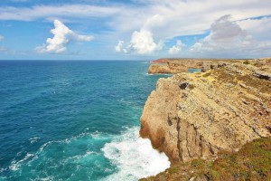 Scenic view of seaside cliff in Portugal, Algarve