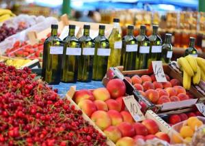 Organically grown seasonal products in Rovinj Market, Croatia