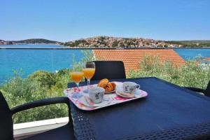 Seaview terrace from villa with pool near Split