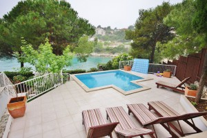 View of pool from beautiful 5 bedroom holiday villa in Trogir area, Croatia