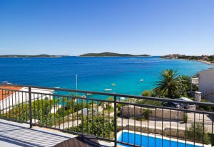 See view from Holiday House with pool to Rent near Trogir in Croatia