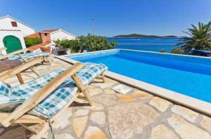 Pool view from pretty 4 bedroom villa in Sevid, Croatia