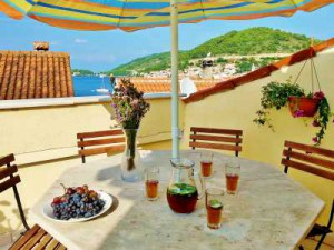 Terrace with sea view from a traditional stone house on Vis island, Croatia