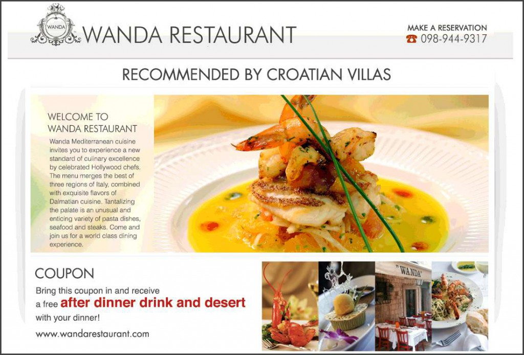 Croatian Villas voucher for Wanda Restaurant