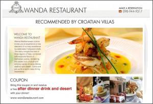 Croatian Villas voucher for Wanda Restaurant